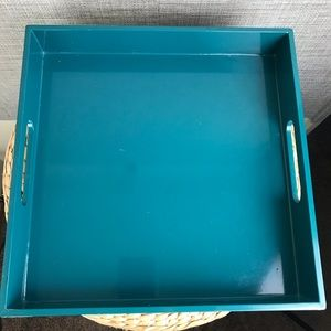 """West Elm Teal Tray 12x12"""""""